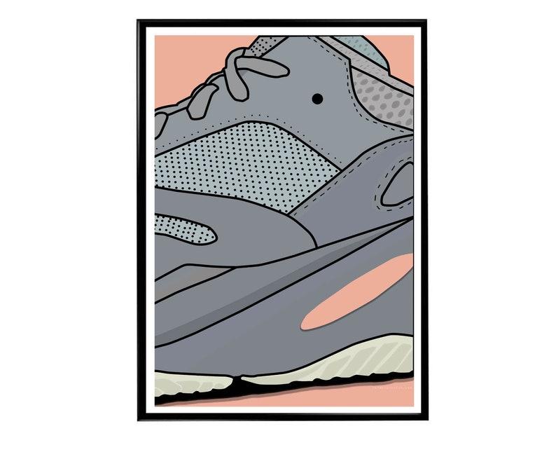 12a14290debde Custom Boost 700 Inertia Sneaker Poster Hypebeast Poster