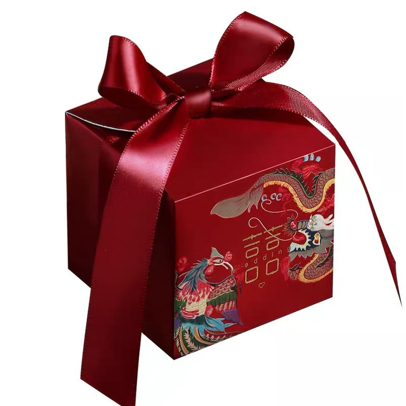 Chinese Wedding /'Double-Happiness/' Wedding Favor Box with the Dragon and the Phoenix Set of 20