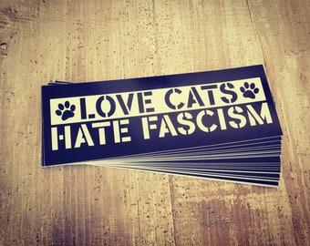 "Sticker ""Love Cats - Hate Fascism"" 1/25/50/100 pieces"