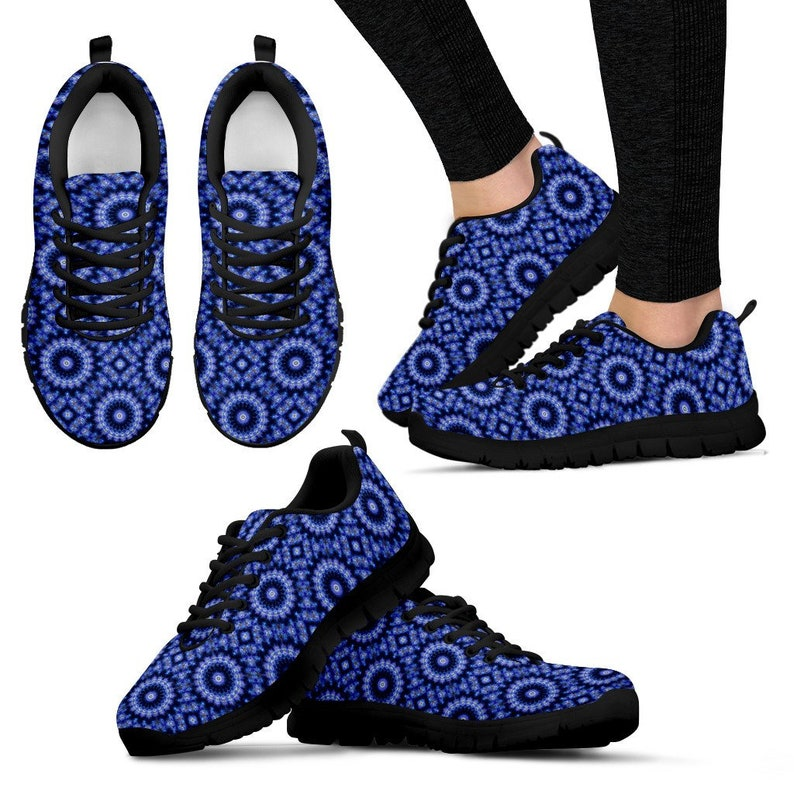 51de54d46806c Blue Fractal Mandala Shoes/Sneakers/Trainers Ladies Kids | Etsy