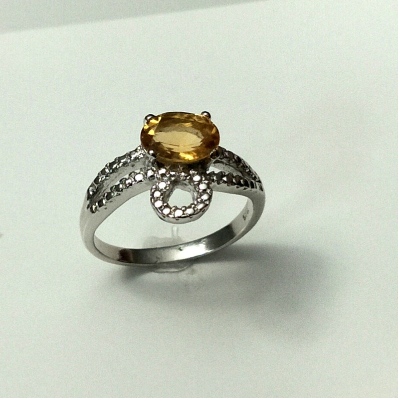 Natural Yellow Topaz Gemstone Claw Ring Oval Shape Stone Size 6x9 MM Solid Sterling Silver 925 Ring Size No 7 Item Code RJ 1144