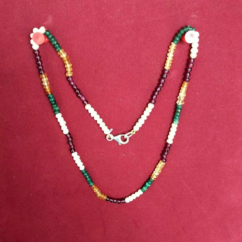 String Necklace Natural Multi Color Faceted Gemstone  Length 18 Inches Item Code SNJ 108