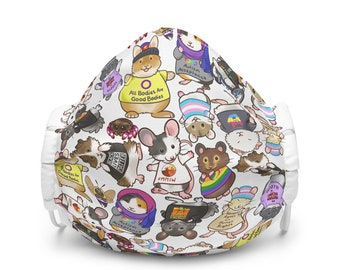 Pipsqueaks for Human Rights Tossed Print Premium face mask