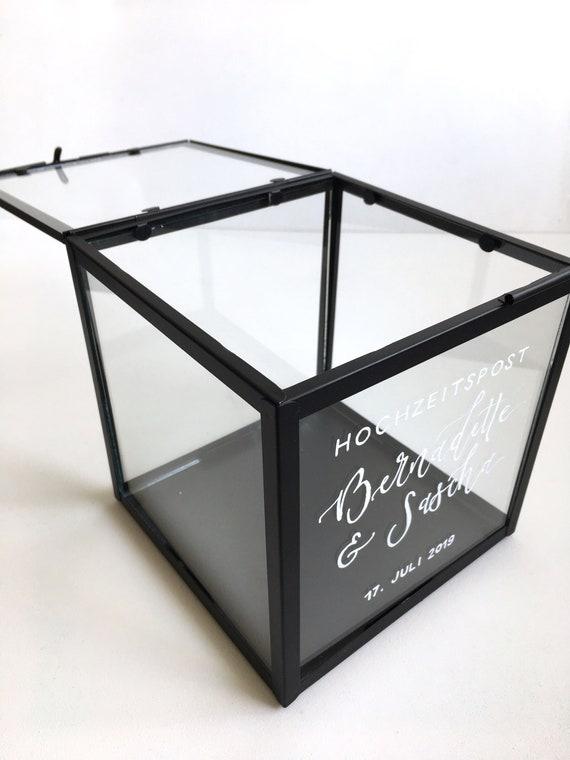 Kartenbox Hochzeit Glas.Individuell Beschriftete Kartenbox Hochzeit Aus Glas Hochzeitspost