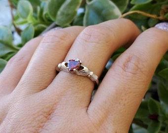 Claddagh Wedding Fidelity Ring Sterling Silver Black Gold Amethyst Russian CZ