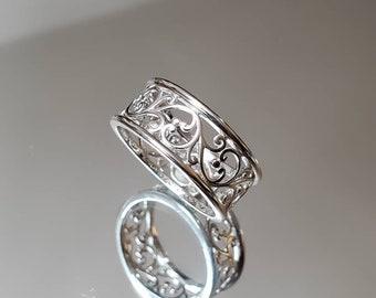 Vines Ring, 925 Sterling Silver Women Band, 925 Stamped, Spiral Bali Bohemian Boho Thumb Ring, size 3, 4, 5, 6, 7, 8, 9, 10, 11, 12, 13