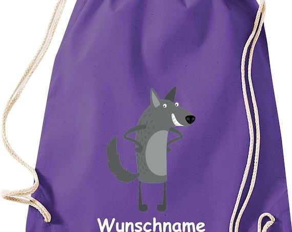 """Gym bag sports bag """"Wolf with wish names"""" wish text name Kita Hort School cotton gym bag bag"""