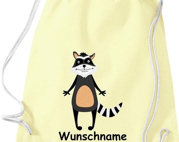 """Gymnastics bag sports bag """"wash bear with wish name"""" wish text name Kita Hort School cotton gym bag bag"""