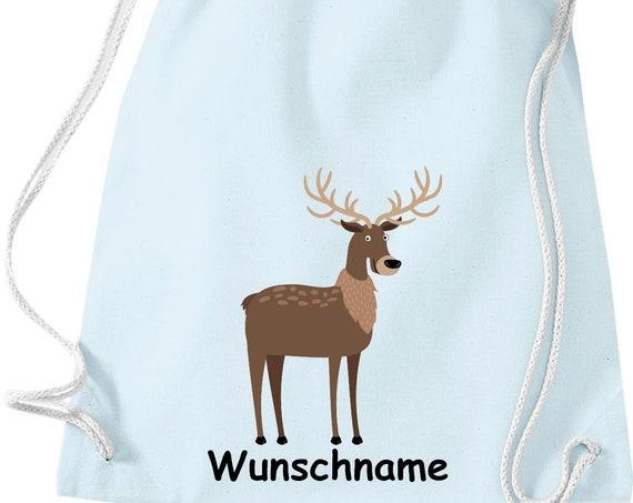 """Gymnastics bag sports bag """"deer deer with wish name"""" wish text name Kita Hort School cotton gym bag bag"""