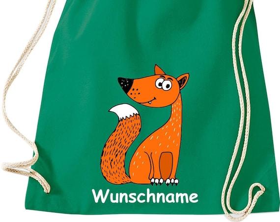 """Gym bag sports bag """"fox with wish name"""" wish text name Kita Hort School cotton gym bag bag"""