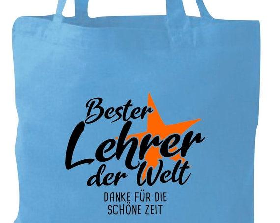 Stoffbeutel Jute Baumwolle Tasche bester Lehrer der Welt Danke für die schöne Zeit Geschenk an Lehrer