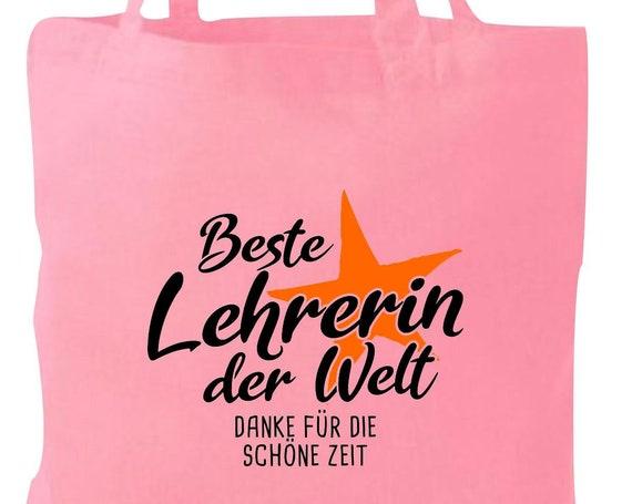 Stoffbeutel Jute Baumwolle Tasche beste Lehrerin der Welt Danke für die schöne Zeit Geschenk an Lehrerinnen