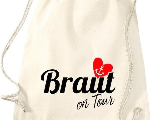 Turnbeutel Braut on Tour Junggesellinnen Abschied mit Anker im Herz Baumwolle Gymsack