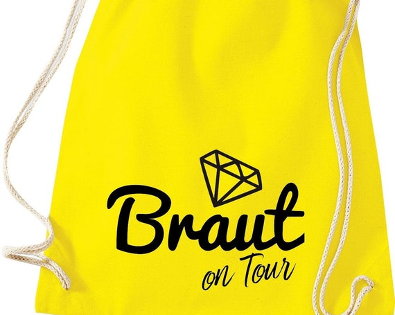 Turnbeutel Braut on Tour Junggesellinnen Abschied mit Diamant Baumwolle Gymsack