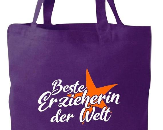 Stoffbeutel Jute Baumwolle Tasche beste Erzieherin der Welt Geschenk an Erzieherinnen