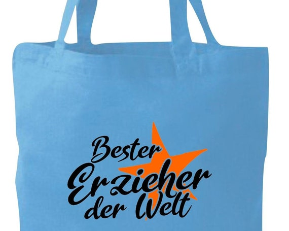 Stoffbeutel Jute Baumwolle Tasche bester Erzieher der Welt Geschenk an Erzieher