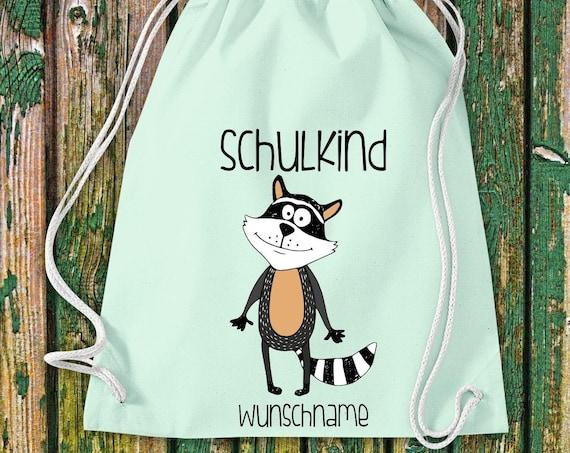 Gym bag Schoolchild Animals Raccoon with desired text School Cotton Gym bag Sports bag Bag Bag Enrolment