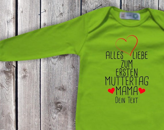 Baby Body Long Sleeve Baby Bodybody All Love for First Mother's Day Mom with Wish Name Text