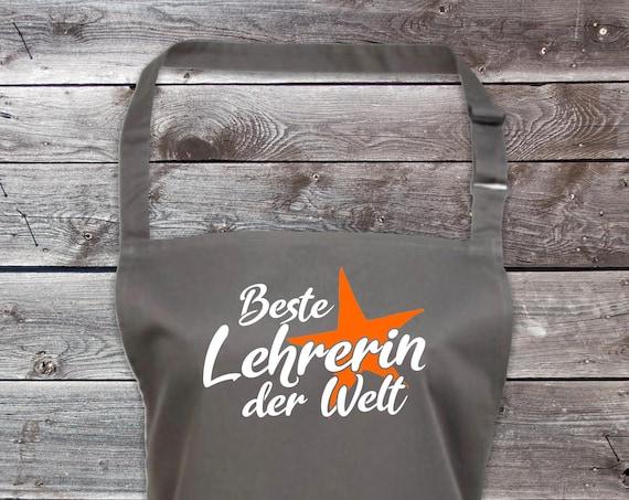 "Chef Baking Apron ""Best Teacher in the World"" Grilling Grill Apron Apron DIY Garden Latzschürze"