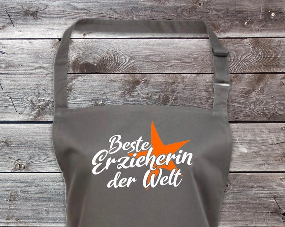 "Chef Baking Apron ""Best Educator in the World"" Grilling Grill Apron Apron DIY Garden Latzschürze"
