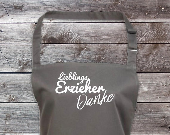 """Koch Backschürze """"Lieblings Erzieher Danke"""" Grillen Grillschürze Schürze Heimwerker Garten Latzschürze"""