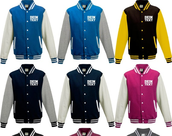 Varsity Jacket College Jacke mit Wunschdruck auf der Vorderseite/Rückseite Trainings Jacke Sport Verein