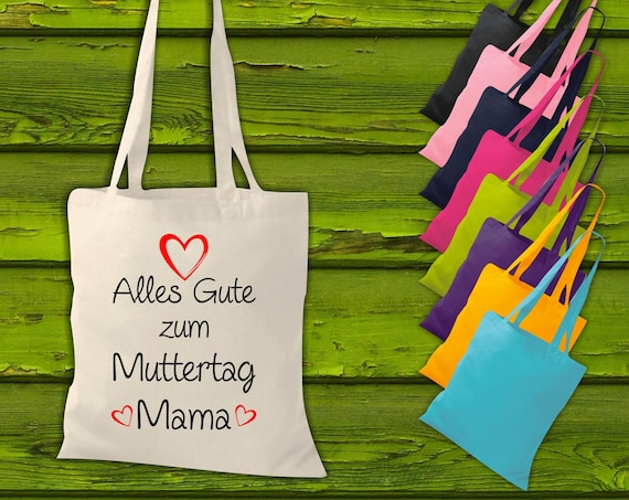 """shirtinstyle fabric bag """"Happy Mother's Day Mom"""" Jute Cotton Bag Shopping Pouch Gift Idea"""