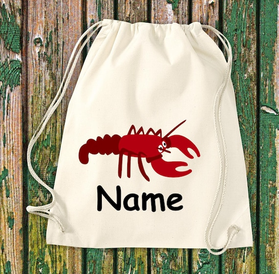 Cotton Gymbag Gymsack Kids Motif Lobster with WishNames Animals Nature Meadows Forest Pouch Bag