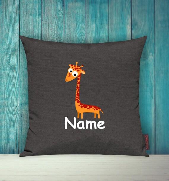 Kissenhülle Sofa Kissen Tiere Animal Giraffe Wunschname Deko Kinderzimmer Geschenk Tiere Natur Füchse Wald
