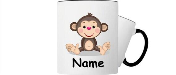 Kinder Tasse Trink Becher Affe mit Wunschnamen