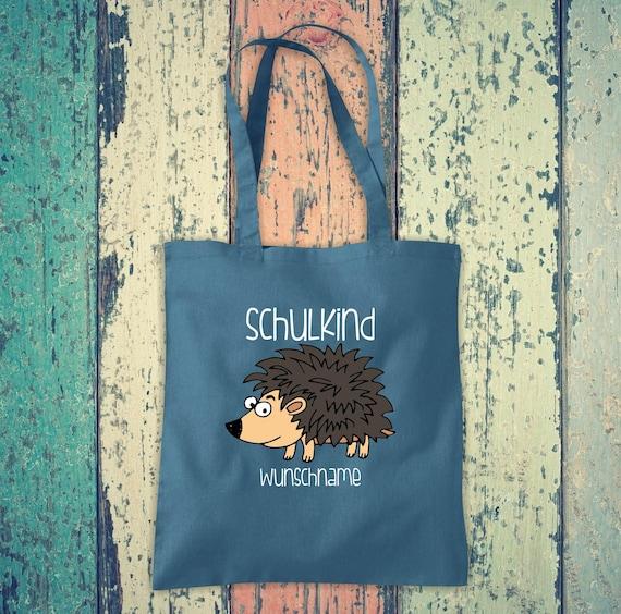 Cloth Bag SchoolChild Animals Hedgehog with Desired Text School Cotton Jute Sports Bag Bag Bag Enrollment