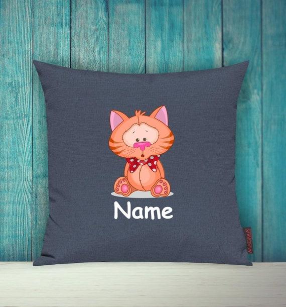 Kissenhülle Sofa Kissen Tiere Animal Katze Wunschname Deko Kinderzimmer Geschenk Tiere Natur Füchse Wald