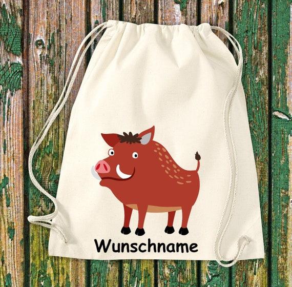 """Gymnastics bag sports bag """"wild boar with wish name"""" wish text name Kita Hort School cotton gym bag bag"""