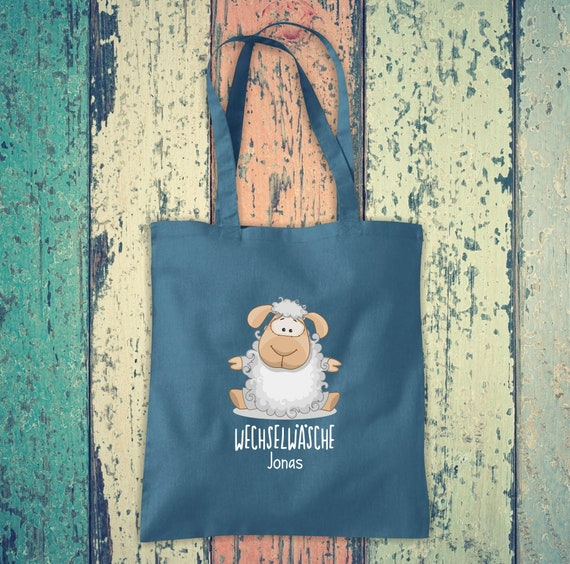 Cloth bag Change of linen, sheep with desired name, desired text school cotton jute sports bag bag bag bag hort enrollment kindergarten animal