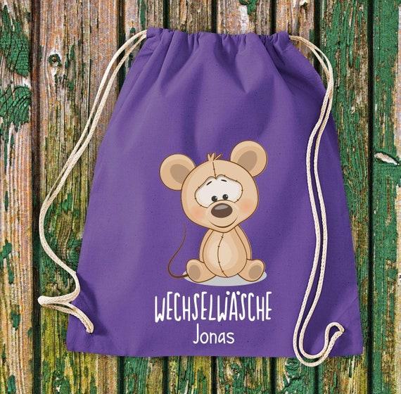 Gym bag Sports bag Change of wash, mouse with desired text Kita Hort School Cotton Gym bag Bag bag