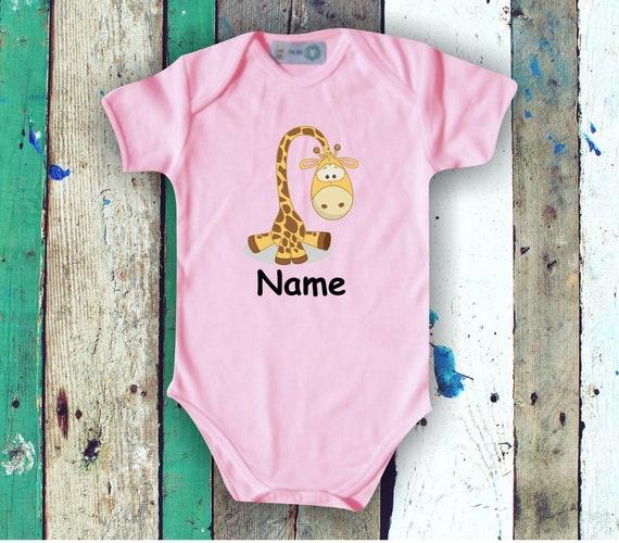 Baby BodyBody Romper with Cute Animals and Wish Names Gift Handmade
