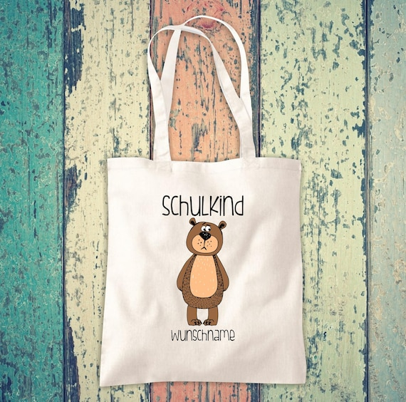 Cloth Bag SchoolChild Animals Bear with Desired Text School Cotton Jute Sports Bag Bag Bag Enrollment