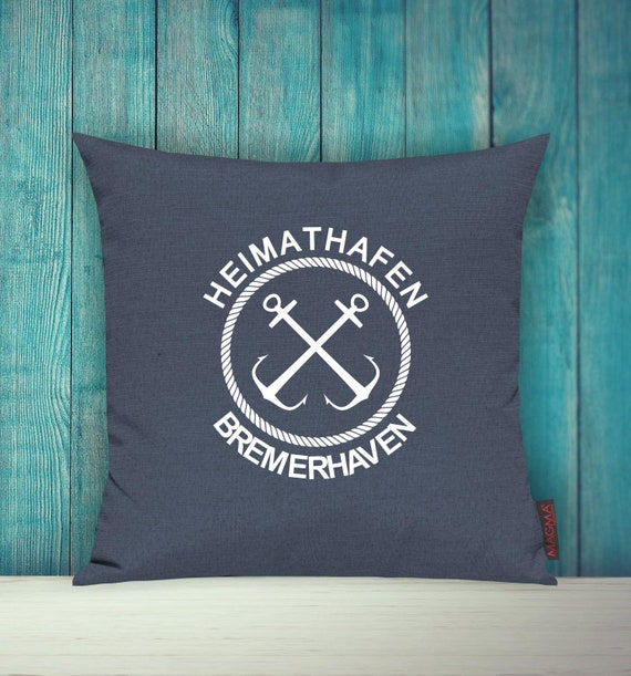 """Cushion cover sofa pillow """"Home port Bremerhaven"""" sofa cushion decoration couch cuddly pillow"""