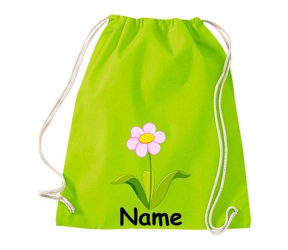 Baumwolle Turnbeutel Gymsack Kinder Motiv Blume mit Wunschnamen