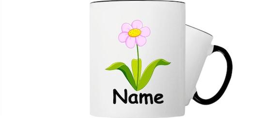 Kinder Tasse Trink Becher Blume mit Wunschnamen