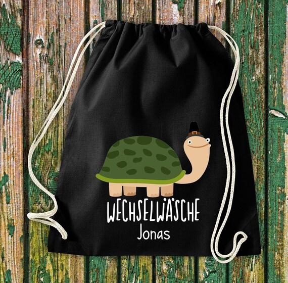 """Gym bag Sports bag """"funny animals turtle, change of linen with desired text Kita Hort School cotton gym bag bag bag bag"""