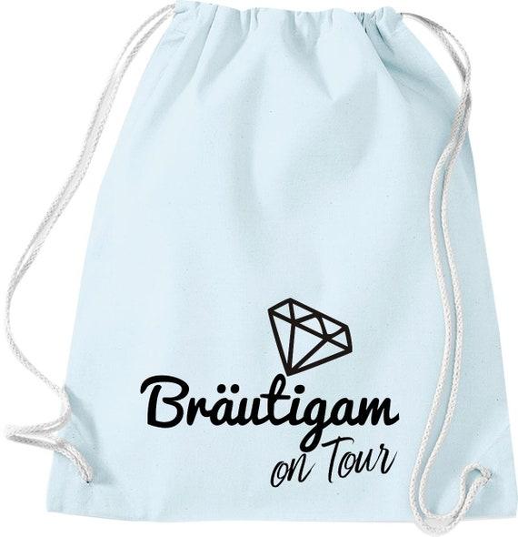 Turnbeutel Bräutigam on Tour Junggesellen Abschied mit Diamant Baumwolle Gymsack