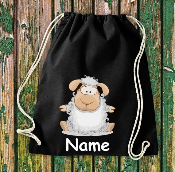 Cotton gym bag Gymsack kids motif sheep with wish names animals nature meadows forest pouch bag