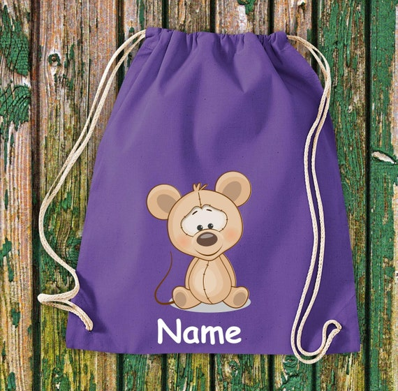 Cotton Gymbag Gymsack Kids Motif Mouse with WishNames Animals Nature Meadows Forest Pouch Bag