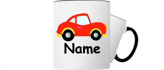 Kinder Tasse Trink Becher Auto PKW mit Wunschnamen