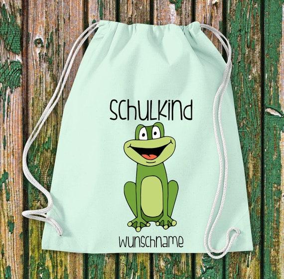 Gym bag Schoolchild Animals Frog with desired text School Cotton Gym bag Sports bag Bag Bag Enrolment