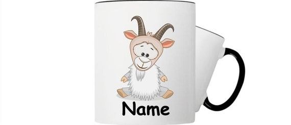 Children's cup drink mug goat with wishful name