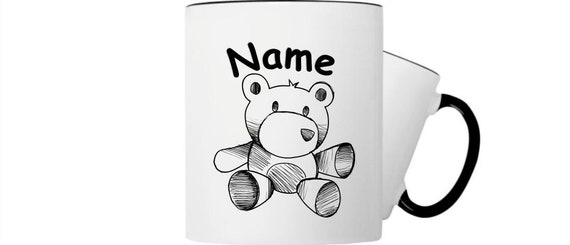 Children's cup drink mug teddy bear with wish names