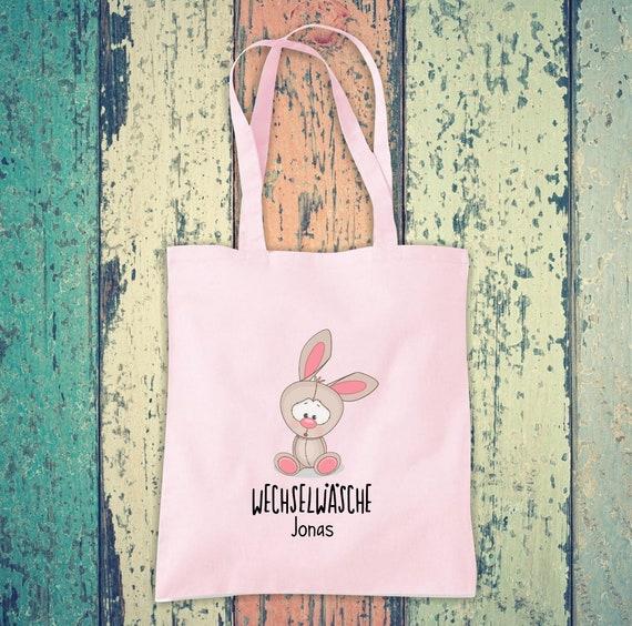 Cloth bag change of linen, rabbit with desired name, desired text school cotton jute sports bag bag bag after-school hort enrollment kita animal
