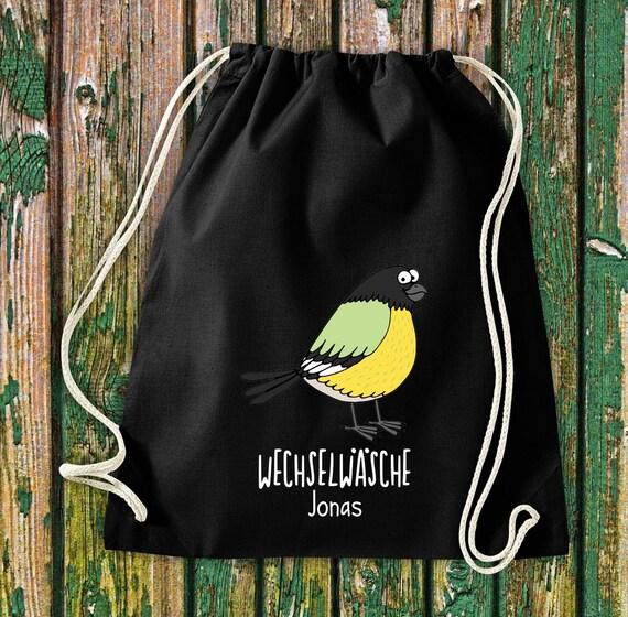 """Gym bag sports bag """"funny animals bird sparrow pigeon, change of linen with desired text Kita Hort school cotton gym bag bag bag bag"""